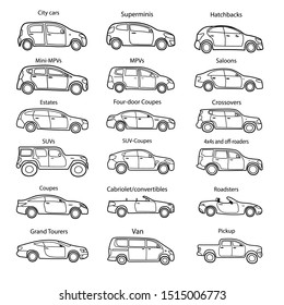 Big set of car body types with text. Simple black outline car icon for your design.