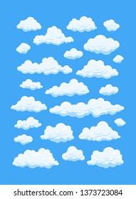 Big set of cartoon clouds in blue sky.
