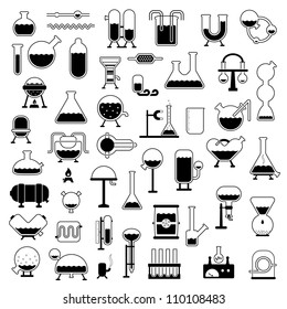 big set of cartoon mechanisms silhouettes for use in design, etc.