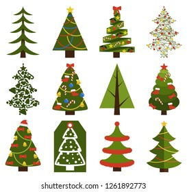 Big set of Christmas tree symbols with or without decorative elements, abstract spruces with garlands and toys, topped by hat or star raster on white