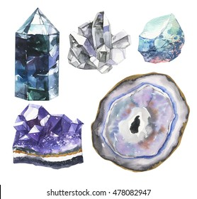 Big set of crystals in watercolor. Stones of amethyst and glass polygons, pebbles and other hand made.Illustration in indie style isolated on white background.