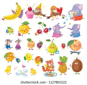 Big set of cute cartoon characters. Funny fruits and animals isolated on white background. Illustration for children. Coloring page