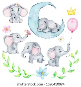Big set with cute little elephant and balloon and flower; watercolor hand draw illustration; can be used for cards and invitations and for baby shower; with white isolated background