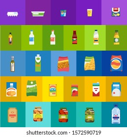 Big Set of Different Food, Drinks and Dairy Products Flat Icons. Groceries Collection in Colorful Bright Paper, Plastic and Glass Packaging. Food Shop, Grocery or Supermarket Goods Assortment