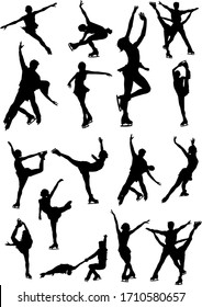 Big set of figure skating black and white silhouettes.