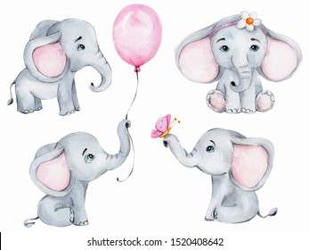 Big set with four cute little elephants; watercolor hand draw illustration; can be used for cards and invitations and for baby shower; with white isolated background