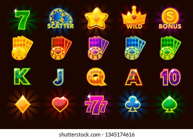 Big set gaming icons of card symbols for slot machines and a lottery or casino in different colours. Game casino, slot, UI, similar JPG copy
