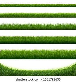 Big Set Green Grass Borders White Background