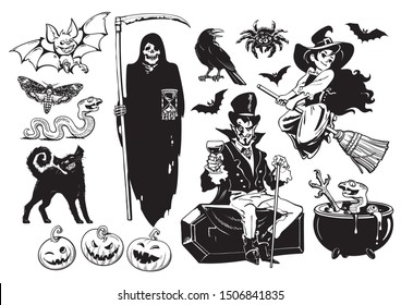Big set of Halloween cartoon characters and objects Grim Reaper skeleton, bat, crow, black cat, pumpkins, spider, little witch. Black and white silhouettes. Hand drawn illustration on white background
