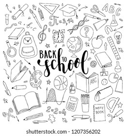 big set of hand drawn doodle welcome back to school with lettering. Hand drawn calligraphy and brush pen lettering phrase back to school.