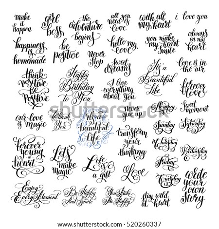 Big Set Handwritten Positive Inspirational Quotes Stock Illustration
