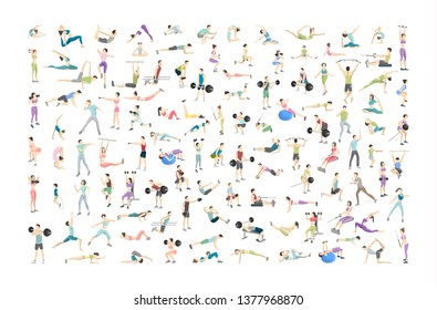Big set of people doing exercises in the gym. Fitness and healthy lifestyle. Lifting weights, doing yoga and aroebics. Muscle bulding. Isolated flat  illustration