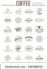 Big Set of Raster Coffee Elements and Coffee Accessories Illustration can be used as Logo or Icon in premium quality