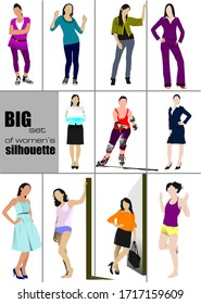 Big set of women's` silhouette. Color illustration