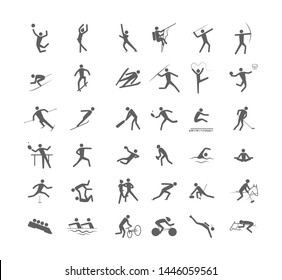 Big set of sport games. Collection of activity icons with volleyball, football, gymnastics and swimming. Line figure. Isolated  illustration