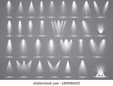 Big set spotlights lighting, transparent effects with spot lighting. Illumination scene bright light.