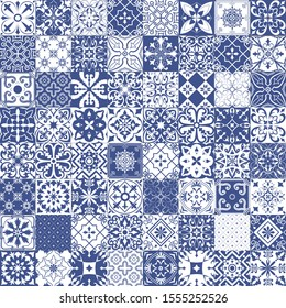Big set of tiles in portuguese, spanish, italian style. For wallpaper, backgrounds, decoration for your design, ceramic, page fill and more. Raster version.