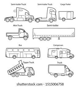Big set of trucks body types with text. Simple black outline car icon for your design.