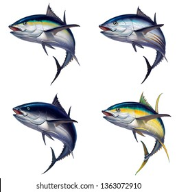 Big set of tuna fish isolated realistic illustration. Black fin tuna. Yellow tuna Atlantic tuna fish.