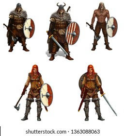 Big set of viking warriors with shields and swords and axes isolated realistic illustration. Redhead viking girl with an ax. Male viking warrior blond in a helmet with horns.