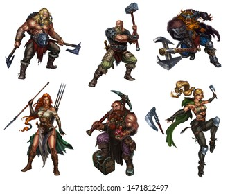 Big set of viking warriors with shields and swords and axes dwarf realistic isolated illustration.