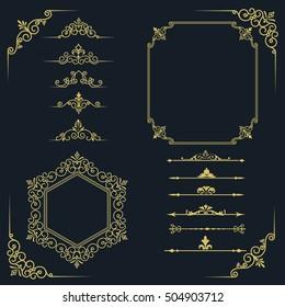 Set Vintage Frames Beautiful Filigree Ornamental Stock