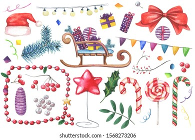 Big set of Watercolor Christmas clipart objects on white background. Hand drawn green Holly leaves, lollipops, golden fir-tree toy, berries, branches, gifts, sleigh, confetti, lightbulb, flag garlands