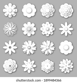 Big set of white paper flowers. Paper cut style. 3d origami abstract flower icons. Can be used as element your design.  illustration