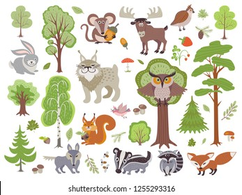 Big set of wild forest animals birds and trees. Cartoon forest isolated on white background