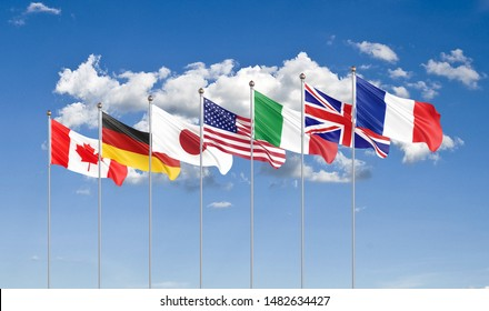 Big Seven. G7 flags Silk waving flags of countries of Group of Seven Canada, Germany, Italy, France, Japan, USA states, United Kingdom 2019. Cloud background. 3D illustration.