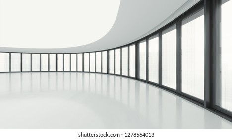 Big simple empty room with large windows. 3d rendering