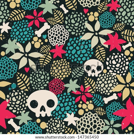 Big skulls and flowers seamless background.