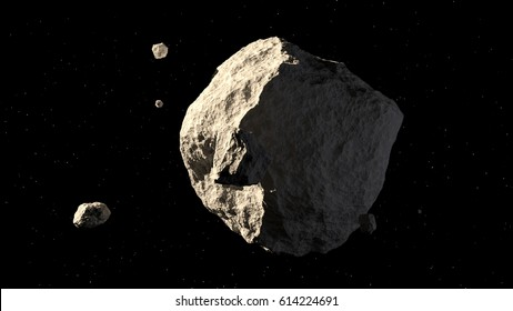 big and small asteroids on black background 3d illustration