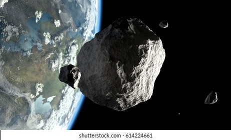 big and small asteroids on Earth orbit 3d illustration