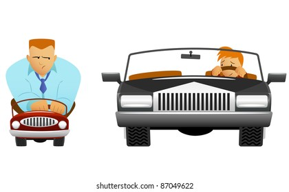 Big and small car with different size funny drivers. Vector available.