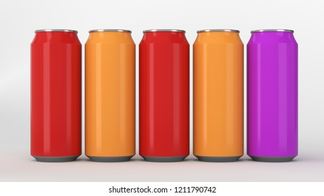 Big and small colorful soda cans standing in two raws on white background. Beverage mockup. Tin package of beer or drink. 3D rendering illustration