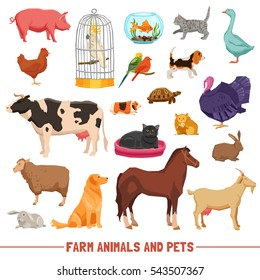 Big and small farm animals birds and home pets on white background flat isolated  illustration