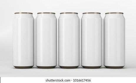Big and small white soda cans standing in two raws on white background. Beverage mockup. Tin package of beer or drink. 3D rendering illustration
