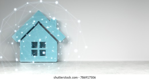 Big smarthome icon in modern interior with digital connection 3D rendering