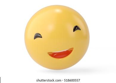 Big smile emoticon.3D illustration.