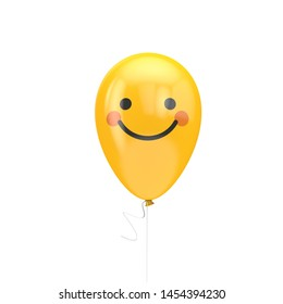 Big smile with red cheeks emoji floating balloon