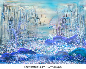Big snow in abstract morning town. Surreal painting artwork.
