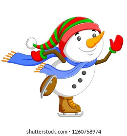 a big snowman is dancing and jumping with his brown ice skating shoes