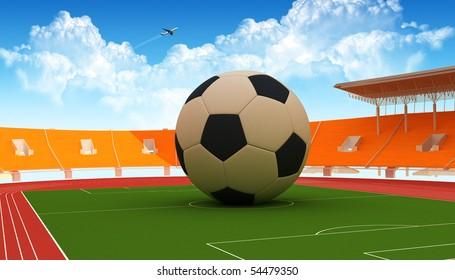Big soccer ball in a big stadium