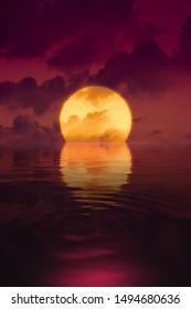 A big soothing sunset wallpaper 3D illustration