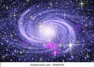 Big spiral galaxy in far star space