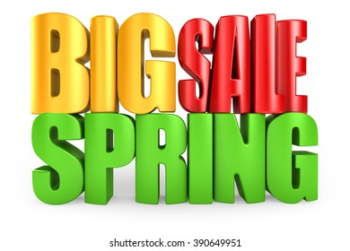 Big spring sale 3d text isolated over white background