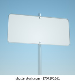 Big square road sign mockup. Signboard template isolated on sky background. 3d render
