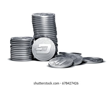 Big stack of Dash coins isolated on white. Dash coin growth concept. New virtual money, 3D render.