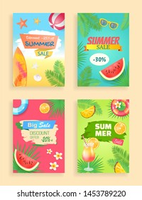 Big summer sale, discount offer, raster shaped ribbon, label and spot. Sliced fruit, inflatable ring, cocktail and surfboard, sun glasses, palm leaves